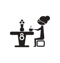 Flat icon in black and white girl drinks coffee vector image