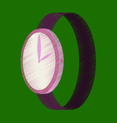 Flat shading style icon wrist watch vector