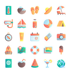 flat summer icons vacation tour beach umbrella vector image