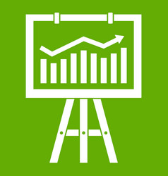 flipchart with marketing data icon green vector image