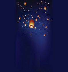 Floating lanterns in the night sky ceremony at vector