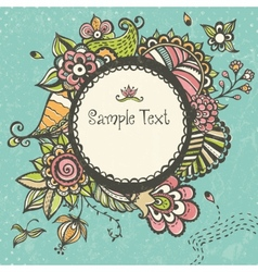 Floral doodle frame with space for text vector
