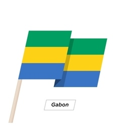 Gabon Ribbon Waving Flag Isolated on White vector image