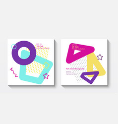 geometric postcard templates in pop art vector image