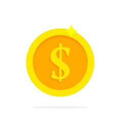 Gold coin in flat style vector