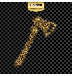 Gold glitter icon of axe isolated on vector