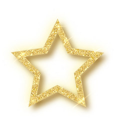 golden christmas star isolated on white background vector image