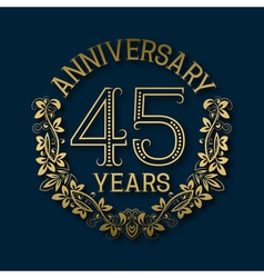 Golden emblem of forty fifth years anniversary vector