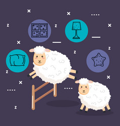 good night sleep cartoon sheep jumping fence vector image