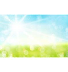Green blue sky sun spring bokeh blurry vector image