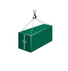 Green Container Hanging on Crane Hook vector