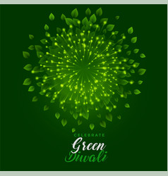 Green fireworks with leaves for happy diwali vector