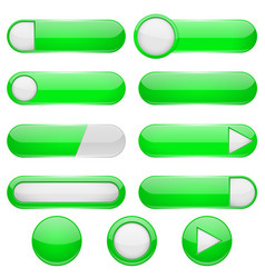 green menu buttons 3d oval web icons vector image