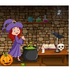 halloween background with little witch vector image