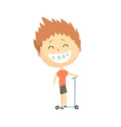 happy smiling cartoon boy riding a kick scooter vector image