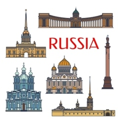 Historic buildings and architecture russia vector