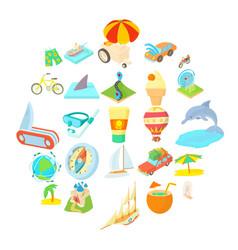 Honeymoon trip icons set cartoon style vector