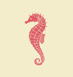 Icon seahorse in retro style vector