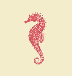 icon seahorse in retro style vector image