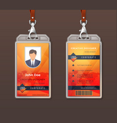 id card corporate identity employee access badge vector image