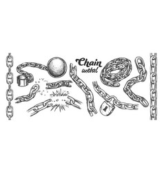 iron chain collection monochrome set vector image