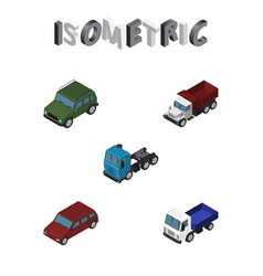 Isometric automobile set of truck freight vector