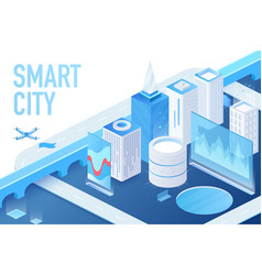 isometric model modern smart city with data vector image