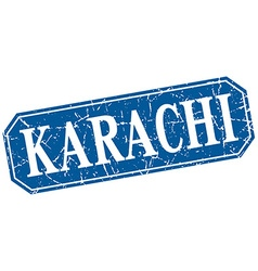 Karachi blue square grunge retro style sign vector