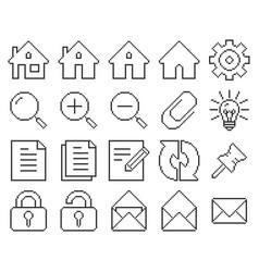 Line pixel icons set user interface set 1 vector