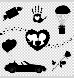 love icons set of 7 valentine silhouette signs vector image