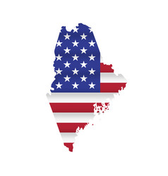Maine us state flag map isolated vector