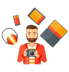 Man holding camera vector image