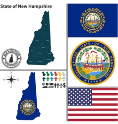map new hampshire with seal vector image