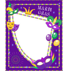 Mardi gras frame template with space for text vector