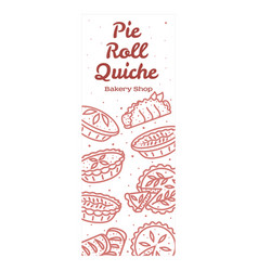 Meat pie roll quiche banner vector