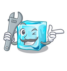 Mechanic ice cubes on the cartoon funny vector