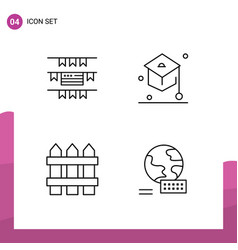 Mobile interface line set 4 pictograms of vector