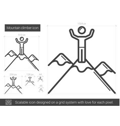 Mountain climber line icon vector