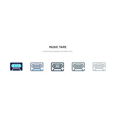 Music tape icon in different style two colored vector
