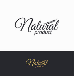 natural product logo natural black and white vector image