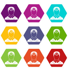 Ophthalmologist with head mirror icon set color vector