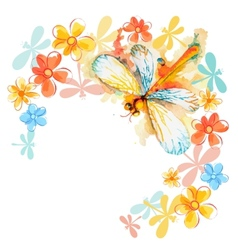 Orange Dragonflies with Flowers vector