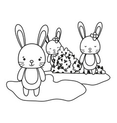 Outline cute rabbits friends in the bushes leaves vector