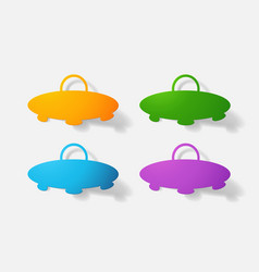 Paper clipped sticker aircraft ufo vector