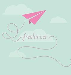 Paper plane as freelancer vector image vector image