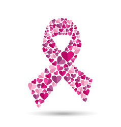 Pink ribbon design with heart for breast cancer vector