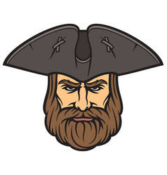 pirate head with sailor hat vector image