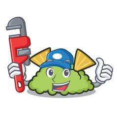 Plumber guacamole mascot cartoon style vector
