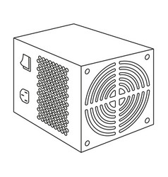 Power supply unit icon in outline style isolated vector
