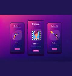 Professional makeup app interface template vector